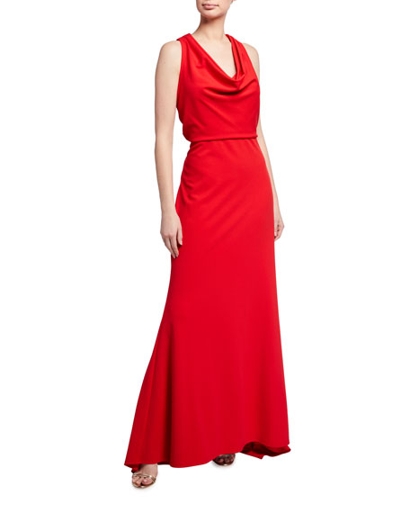 Image 1 of 2: Tadashi Shoji Sleeveless Crepe Gown with Crossover Back