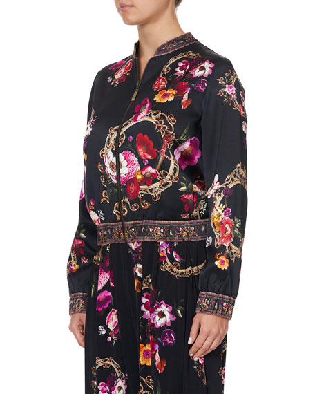 Image 2 of 4: Camilla Floral-Print Silk Bomber Jacket