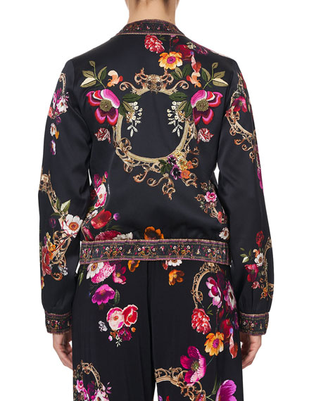 Image 3 of 4: Camilla Floral-Print Silk Bomber Jacket