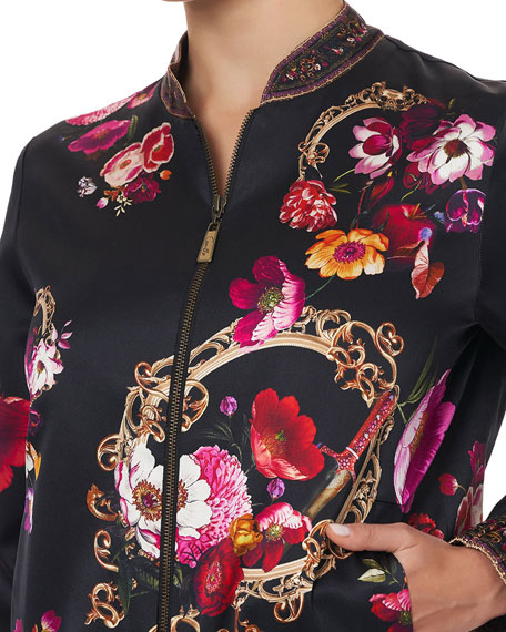 Image 4 of 4: Camilla Floral-Print Silk Bomber Jacket
