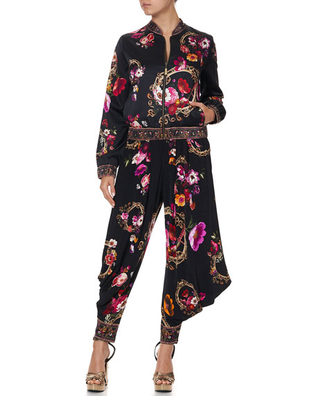 Image 1 of 4: Camilla Floral-Print Silk Bomber Jacket