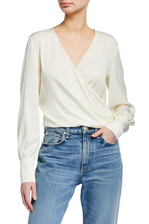 Theory Faux Wrap Silk-Blend Top