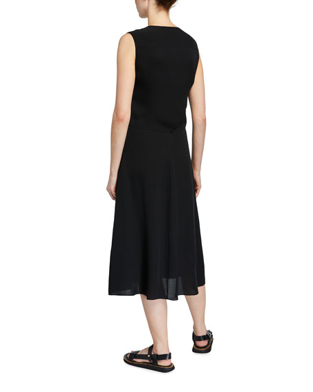 Image 2 of 2: Theory Tie-Front Sleeveless Midi Dress