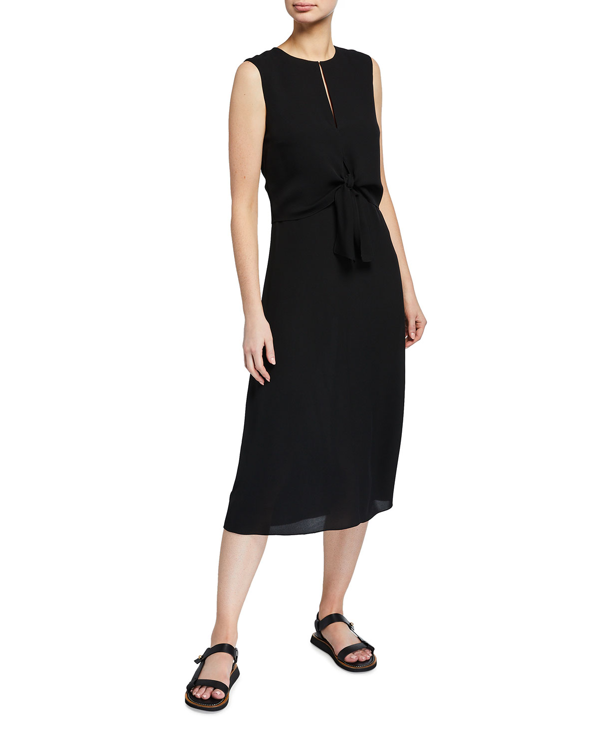 Theory Tie-Front Sleeveless Midi Dress