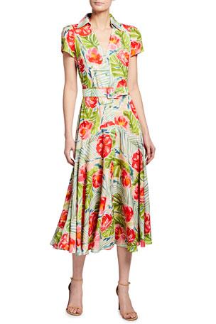 Plus Size Midi Dress Ladies Evening With Wallpaper Print Side 20 22 24 26 28