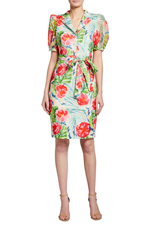 Badgley Mischka Collection Palm Flower Printed Sheath Dress