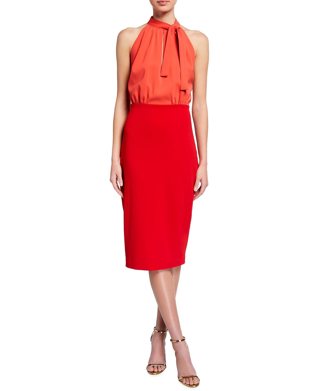 Badgley Mischka Collection Colorblock Sleeveless Tie-Neck Dress