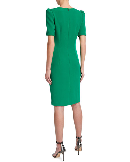 Badgley Mischka Collection Short-Sleeve Sheath Dress w/ Buttons