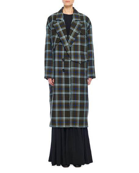 Tibi Spencer Plaid Cocoon Maxi Coat