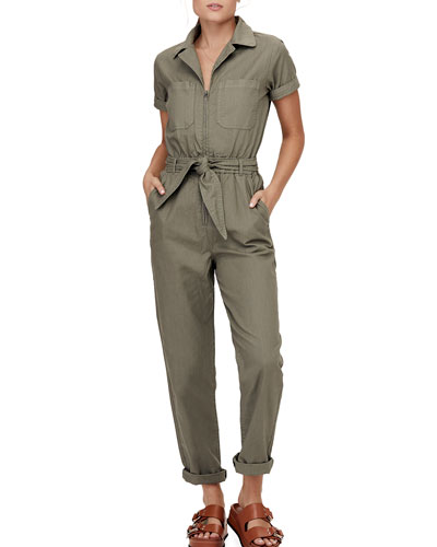 Carson Collared Zip-Front Jumpsuit