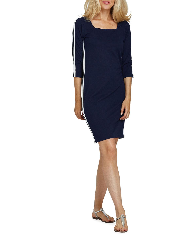 Joan Vass Petite Racing Stripe 3/4-Sleeve Sheath Dress