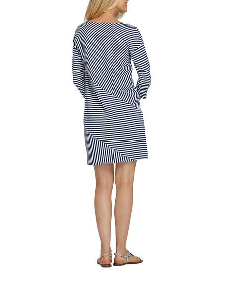 Joan Vass Striped 3/4-Sleeve Shift Dress