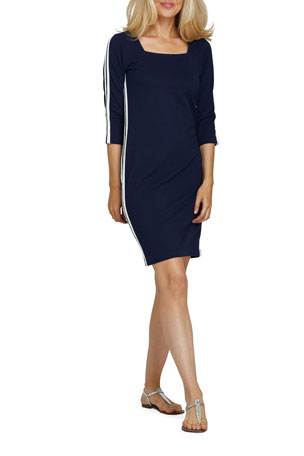 Joan Vass Plus Size Racing Stripe 3/4-Sleeve Sheath Dress