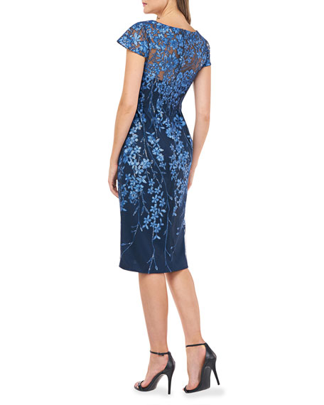 Image 2 of 2: Novelty Sequin Floral Embroidered Cap-Sleeve Sheath Dress