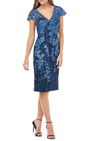 Carmen Marc Valvo Infusion Novelty Sequin Floral Embroidered Cap-Sleeve Sheath Dress