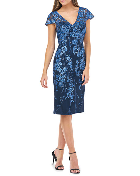Image 1 of 2: Novelty Sequin Floral Embroidered Cap-Sleeve Sheath Dress