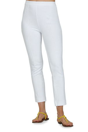 Joan Vass Plus Size Stitched Seam Ankle Pants
