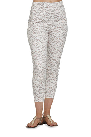 Joan Vass Petite Slim Animal Printed Stretch Woven Pants