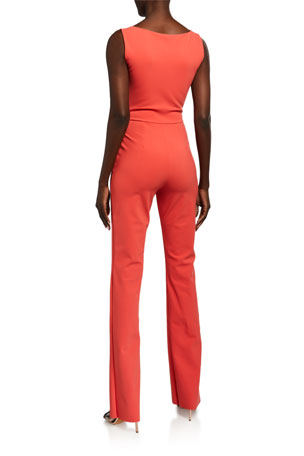 Womens Red Chain Neckline Wide Leg Sleeveless Jumpsuit X-Large Style /& Co