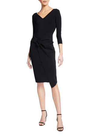 Chiara Boni La Petite Robe Sotiria V-Neck Jersey Sheath Dress