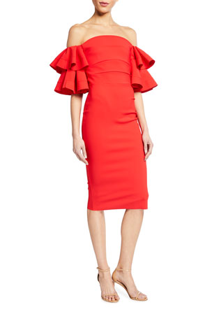 Chiara Boni La Petite Robe Parvati Off-the-Shoulder Ruffle-Sleeve Sheath Dress