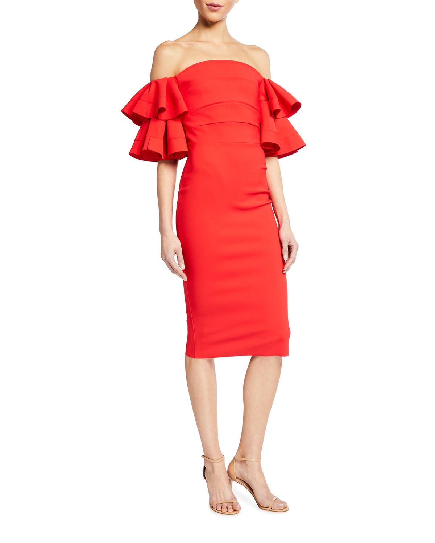 Chiara Boni La Petite Robe Parvati Off-the-Shoulder Ruffle-Sleeve Sheath Dress