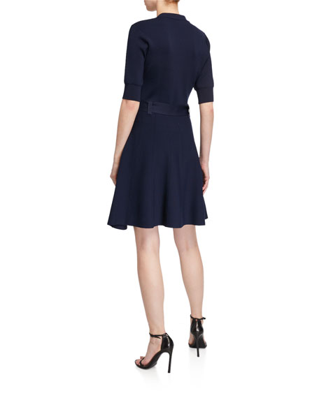 Image 2 of 2: Shoshanna Edgemont Button-Front Elbow-Sleeve Dress