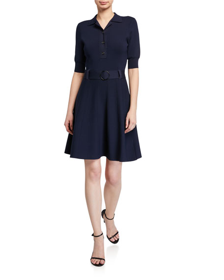 Image 1 of 2: Shoshanna Edgemont Button-Front Elbow-Sleeve Dress