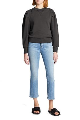 FRAME Shirred Cotton Sweatshirt