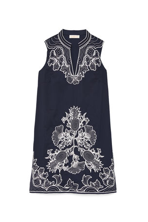 Tory Burch Embroidered Sleeveless Tunic Dress