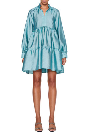 Stine Goya Jasmine Tiered Long-Sleeve Cocktail Dress