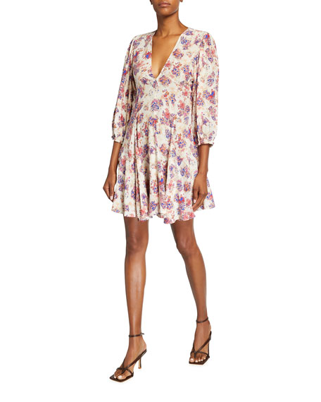 Image 1 of 2: Iro Gallery Floral V-Neck Short Dress