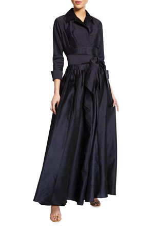 Rickie Freeman for Teri Jon Shirt Collar Corset Waist Taffeta Gown