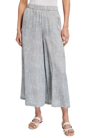 Eileen Fisher Wavy Printed Silk-Cotton Cropped Culotte Pants