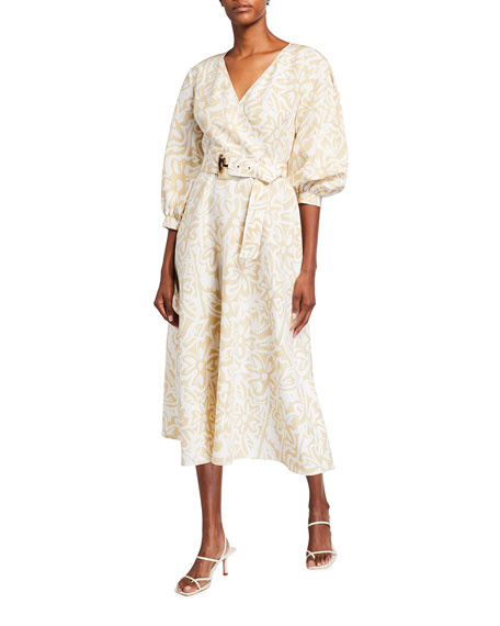 Image 2 of 3: Lafayette 148 New York Joanna Light Garden Print Midi Dress