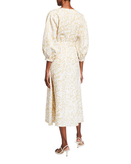 Image 3 of 3: Lafayette 148 New York Joanna Light Garden Print Midi Dress