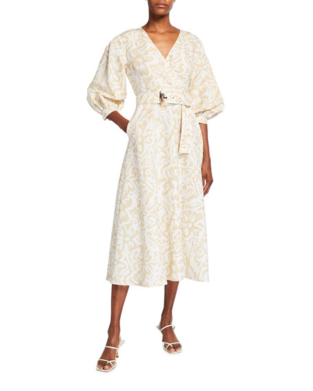 Image 1 of 3: Lafayette 148 New York Joanna Light Garden Print Midi Dress