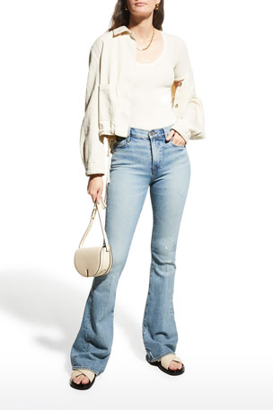 FRAME Le High Flare Light-Wash Denim Jeans