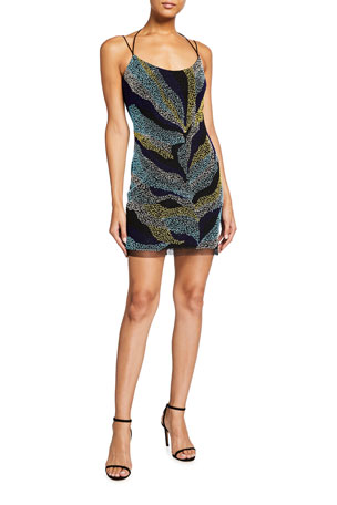 Aidan by Aidan Mattox Multi Beaded Spaghetti-Strap Mini Sheath Dress $295.00