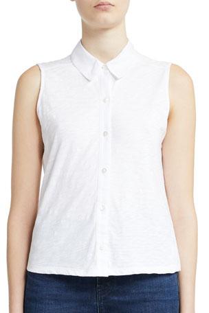 Theory Organic Cotton Shrunken Button-Down Shirt