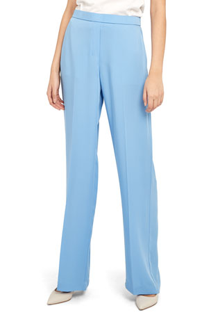 Theory Wide-Leg Silk Georgette Pull-On Pants