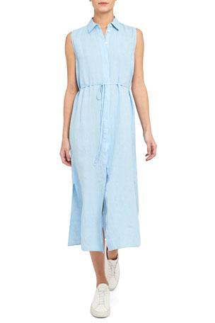 Theory Spring Linen Sleeveless Shirtdress