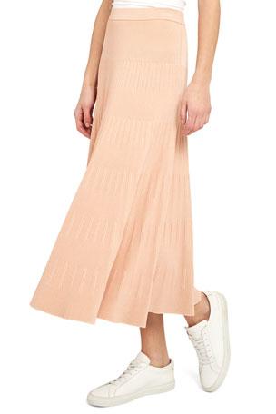 Theory Striping Ribbed Pebbled Viscose Skirt