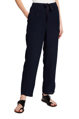 Eileen Fisher Plus Size Puckered Organic Linen Tapered Ankle Pants