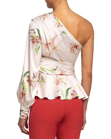 Image 2 of 2: Santorelli Vega Lily Printed One-Shoulder Charmeuse Blouse