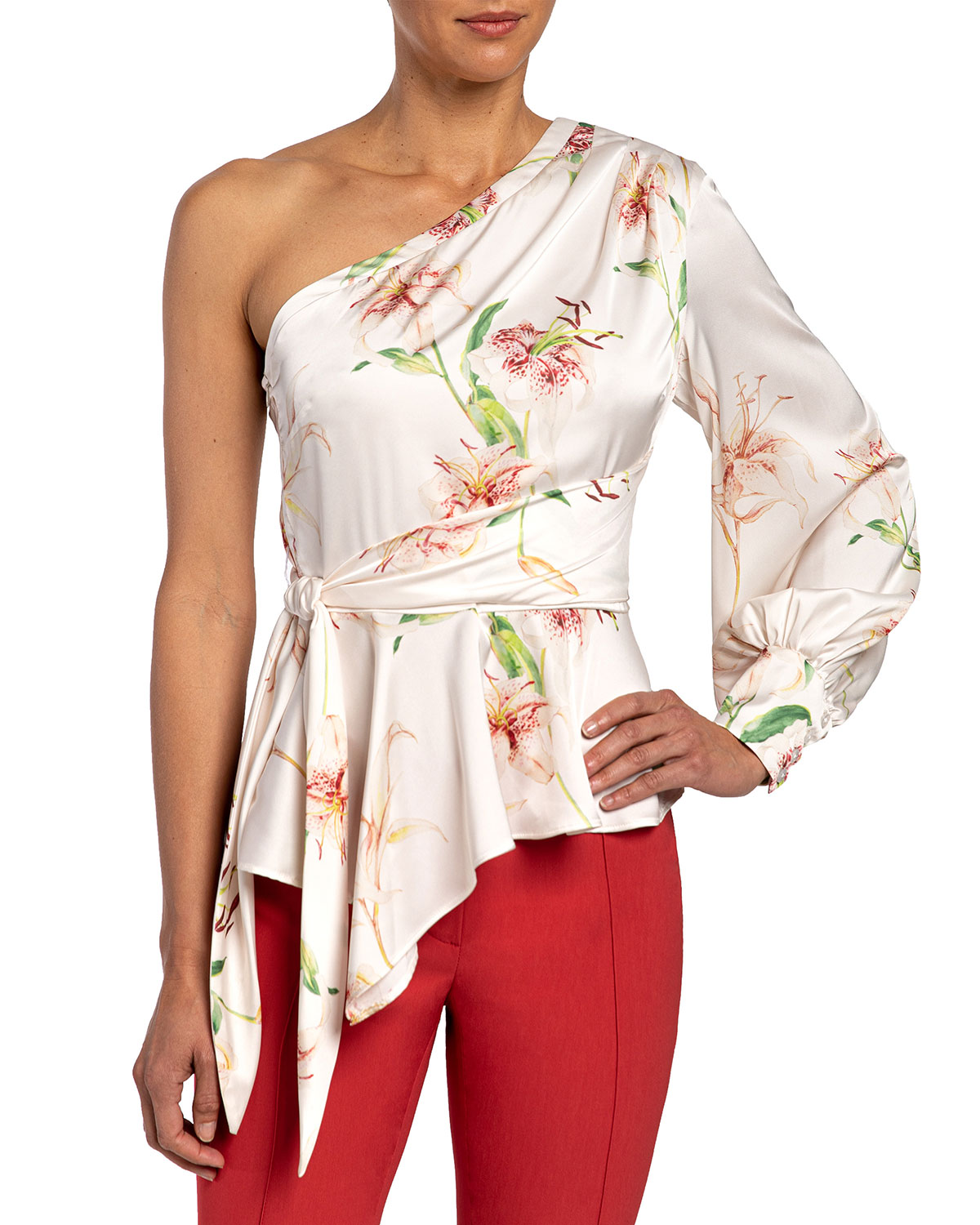 Santorelli Vega Lily Printed One-Shoulder Charmeuse Blouse