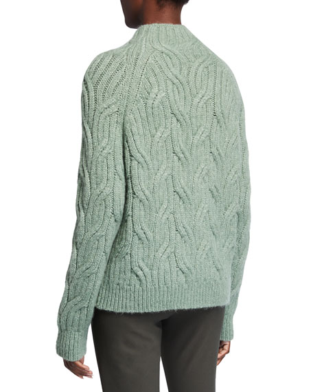 Image 2 of 2: Vince Twisted Chain Cable-Knit Turtleneck