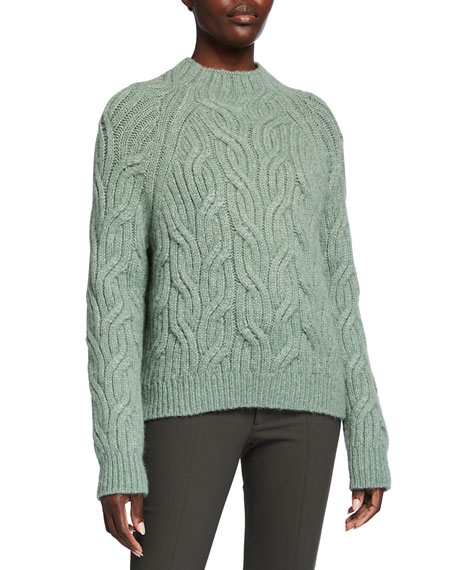 Image 1 of 2: Vince Twisted Chain Cable-Knit Turtleneck