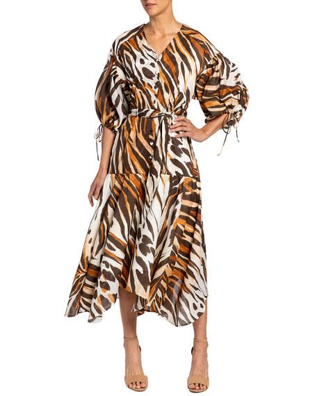 Santorelli Vienna Ocelot Print Handkerchief Midi Dress