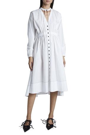 Proenza Schouler White Label Cotton Shirting Collared Button-Down Dress